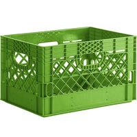Lime Green 24 Qt. Customizable Rectangular Milk Crate - 18 3/4 inch x 13 inch x 11 inch