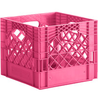 Pink 16 Qt. Customizable Square Milk Crate - 13 inch x 13 inch x 11 inch