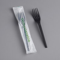 EcoChoice Wrapped Heavy Weight Compostable 6 1/2 inch Black CPLA Fork - 500/Case