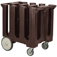 Cambro DC700131 Dark Brown Poker Chip Dish Dolly / Caddy with Vinyl Cover - 6 Column