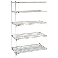 Metro 5AA437C Stationary Super Erecta Adjustable 2 Series Chrome Wire Shelving Add On Unit - 21 inch x 36 inch x 74 inch