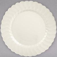 Fineline Flairware 210-BO 10 1/4 inch Bone / Ivory Plastic Plate - 18/Pack