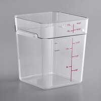 Carlisle 11955AF07 18 Qt. Allergen-Free Clear Square Polycarbonate Food Storage Container with Purple Graduations