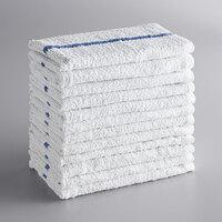 Choice 16 inch x 19 inch Blue Striped 32 oz. 100% Cotton Bar Towels in Bulk - 60/Case
