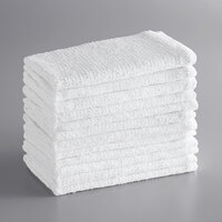 Choice 16 inch x 19 inch 18 oz. White 100% Cotton Ribbed Terry Bar Towels in Bulk - 300/Case