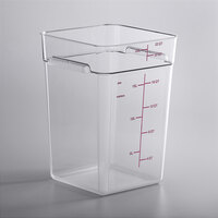 Carlisle 11956AF07 22 Qt. Allergen Free Clear Square Polycarbonate Food Storage Container with Purple Graduations