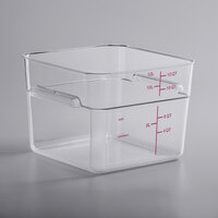 Carlisle 11954AF07 12 Qt. Allergen Free Clear Square Polycarbonate Food Storage Container with Purple Graduations
