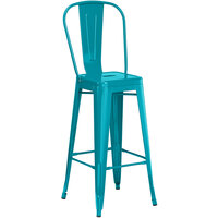 Lancaster Table & Seating Alloy Series Teal Metal Indoor / Outdoor Industrial Cafe Barstool with Vertical Slat Back and Drain Hole Seat