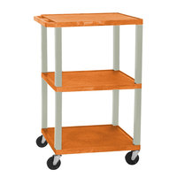 Luxor / H. Wilson WT1642E Orange Tuffy Open Shelf A/V Cart 18 inch x 24 inch with 3 Shelves - Adjustable Height