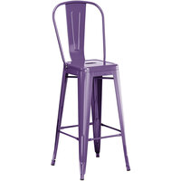 Lancaster Table & Seating Alloy Series Purple Metal Indoor / Outdoor Industrial Cafe Barstool with Vertical Slat Back and Drain Hole Seat