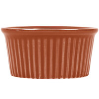 CAC RKF-4BWN Festiware 4 oz. Brown China Fluted Ramekin - 48/Case