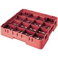 Cambro 16S418163 Camrack 4 1/2 inch High Customizable Red 16 Compartment Glass Rack