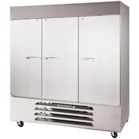 Beverage Air HBF72-1-S 75 inch Horizon Series Three Section Solid Door Reach in Freezer - 72 cu. ft.