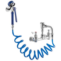Waterloo FWU8 2.4 GPM Wall-Mounted Pet Grooming / Utility Faucet with 8 inch Centers, 9' Coiled Hose, and Vacuum Breaker