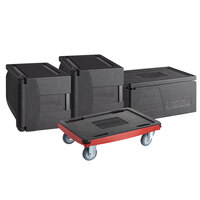 CaterGator Dash Black Insulated EPP Pan Carrier Kit with Two 5-Pan Front Load Carriers, One Full Size 8 inch Deep Top Load Carrier, and Red Compact Dolly