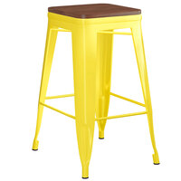 Lancaster Table & Seating Alloy Series Yellow Metal Indoor Industrial Cafe Counter Height Stool with Walnut Wood Seat