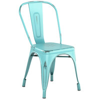 Lancaster Table & Seating Alloy Series Distressed Seafoam Metal Indoor / Outdoor Industrial Cafe Chair with Vertical Slat Back and Drain Hole Seat