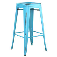 Lancaster Table & Seating Alloy Series Distressed Arctic Blue Stackable Metal Indoor / Outdoor Industrial Barstool with Drain Hole Seat