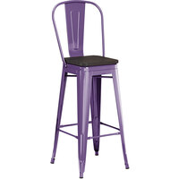 Lancaster Table & Seating Alloy Series Purple Metal Indoor Industrial Cafe Bar Height Stool with Vertical Slat Back and Black Wood Seat