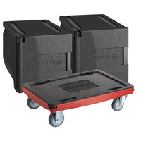 CaterGator Dash Insulated EPP Pan Carrier Kit with Two 5-Pan Front Load Carriers and Red Compact Dolly