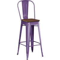 Lancaster Table & Seating Alloy Series Purple Metal Indoor Industrial Cafe Bar Height Stool with Vertical Slat Back and Walnut Wood Seat