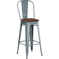 Lancaster Table & Seating Alloy Series Charcoal Metal Indoor Industrial Cafe Bar Height Stool with Vertical Slat Back and Walnut Wood Seat