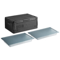 CaterGator Dash Black Full Size 8 inch Deep Flip Down Top Loader EPP Insulated Food Pan Carrier with 2 Vigor Full Size 2 1/2 inch Deep Polycarbonate Food Pans and Secure Sealing Covers