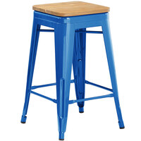Lancaster Table & Seating Alloy Series Blue Metal Indoor Industrial Cafe Counter Height Stool with Natural Wood Seat