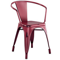 Lancaster Table & Seating Alloy Series Distressed Sangria Metal Indoor / Outdoor Industrial Cafe Arm Chair