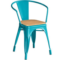 Lancaster Table & Seating Alloy Series Teal Metal Indoor Industrial Cafe Arm Chair with Natural Wood Seat