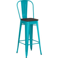 Lancaster Table & Seating Alloy Series Teal Metal Indoor Industrial Cafe Bar Height Stool with Vertical Slat Back and Black Wood Seat