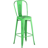 Lancaster Table & Seating Alloy Series Distressed Green Metal Indoor / Outdoor Industrial Cafe Barstool with Vertical Slat Back and Drain Hole Seat