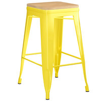 Lancaster Table & Seating Alloy Series Yellow Metal Indoor Industrial Cafe Counter Height Stool with Natural Wood Seat