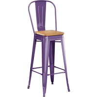 Lancaster Table & Seating Alloy Series Purple Metal Indoor Industrial Cafe Bar Height Stool with Vertical Slat Back and Natural Wood Seat