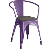 Lancaster Table & Seating Alloy Series Purple Metal Indoor Industrial Cafe Arm Chair with Black Wood Seat