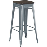 Lancaster Table & Seating Alloy Series Charcoal Metal Indoor Industrial Cafe Bar Height Stool with Black Wood Seat