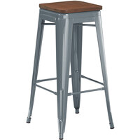 Lancaster Table & Seating Alloy Series Charcoal Metal Indoor Industrial Cafe Bar Height Stool with Walnut Wood Seat