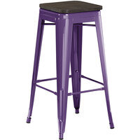 Lancaster Table & Seating Alloy Series Purple Metal Indoor Industrial Cafe Bar Height Stool with Black Wood Seat