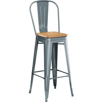 Lancaster Table & Seating Alloy Series Charcoal Metal Indoor Industrial Cafe Bar Height Stool with Vertical Slat Back and Natural Wood Seat