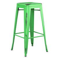Lancaster Table & Seating Alloy Series Distressed Green Stackable Metal Indoor / Outdoor Industrial Barstool with Drain Hole Seat