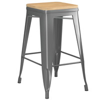 Lancaster Table & Seating Alloy Series Charcoal Metal Indoor Industrial Cafe Counter Height Stool with Natural Wood Seat
