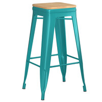 Lancaster Table & Seating Alloy Series Teal Metal Indoor Industrial Cafe Bar Height Stool with Natural Wood Seat