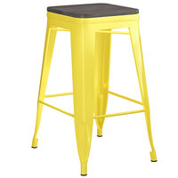 Lancaster Table & Seating Alloy Series Yellow Metal Indoor Industrial Cafe Counter Height Stool with Black Wood Seat