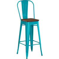Lancaster Table & Seating Alloy Series Teal Metal Indoor Industrial Cafe Bar Height Stool with Vertical Slat Back and Walnut Wood Seat