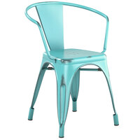 Lancaster Table & Seating Alloy Series Distressed Seafoam Metal Indoor / Outdoor Industrial Cafe Arm Chair