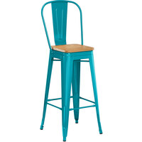 Lancaster Table & Seating Alloy Series Teal Metal Indoor Industrial Cafe Bar Height Stool with Vertical Slat Back and Natural Wood Seat