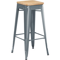 Lancaster Table & Seating Alloy Series Charcoal Metal Indoor Industrial Cafe Bar Height Stool with Natural Wood Seat