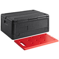 CaterGator Dash Black Full Size 8 inch Deep Flip Down Top Loader EPP Insulated Food Pan Carrier with Red Hot Board