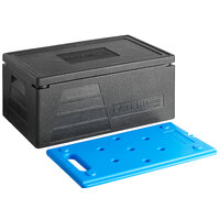CaterGator Dash Black Full Size 8 inch Deep Top Loader EPP Insulated Food Pan Carrier with Blue Ice Board