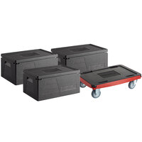 CaterGator Dash Black Insulated EPP Pan Carrier Kit with Three 8 inch Deep Top Load Carries and Red Compact Dolly